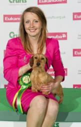 Click to Enlarge - Heather with Ch Stargang Czarina winning Best of Breed Crufts 2013