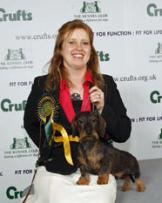 Click to enlarge Joanne with Ch Stargang Malachite winning Best of Breed Crufts 2009